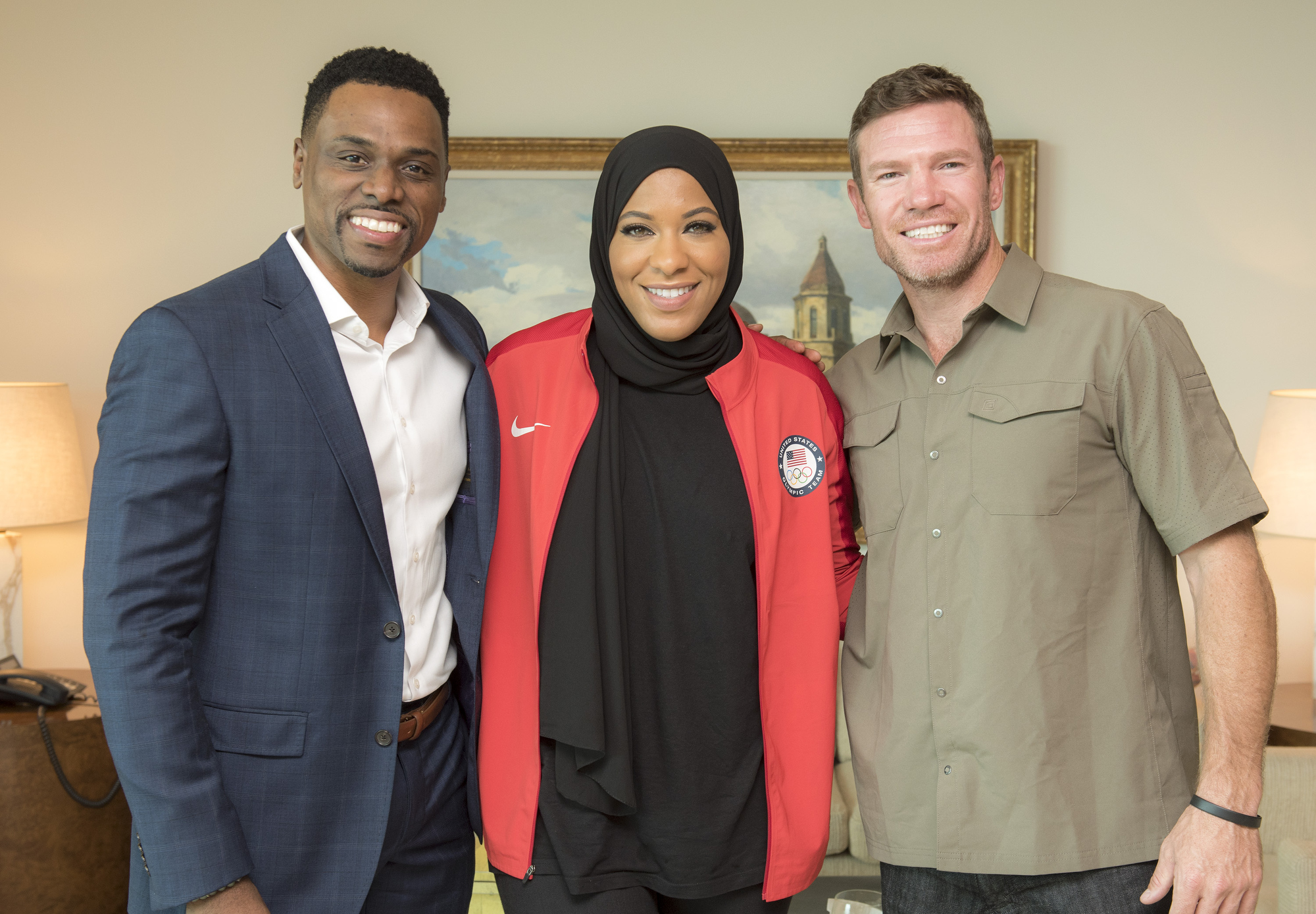 Daron K. Roberts, Ibtihaj Muhammad and Nate Boyer   On Tuesday, September 18, 2018, the LBJ Presidential Library partnered with the University of Texas at Austin's Center for Sports Leadership & Innovation and UTÕs Center for Sports Communication & Media for an evening of conversation about equality in sports. The event featured U.S. Olympic female fencer Ibtihaj Muhammad, a bronze medal winner; Nate Boyer, a former UT football player, Green Beret and NFL player; and Daron K. Roberts, founding director of the Center for Sports Leadership & Innovation. The event was tied to the LBJ LibraryÕs special exhibition, Get in the Game: The Fight for Equality in American Sports, on view through Sunday, Jan. 13, 2019. The conversation was moderated by Mark K. Updegrove, president and CEO of the LBJ Foundation.    LBJ Library photo by Jay Godwin 09/18/2018